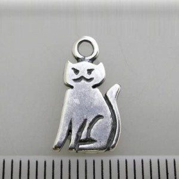 11x9mm Cat Charm Pewter W/ Ant Silver Finish 10pcs