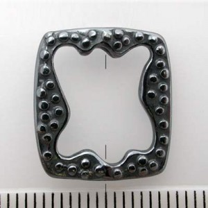 17x15mm Rectangle Bead Frame for Up To 10x8mm Bead Pewter W/ Gun Metal Finish 10pcs