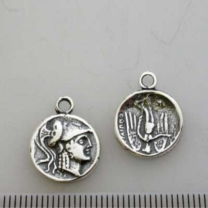 14mm 2-Sided Coin Pendant Pewter W/ Ant Silver Finish 10pcs