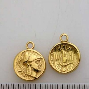 14mm 2-Sided Coin Pendant Pewter W/ Gold Plate Finish 10pcs
