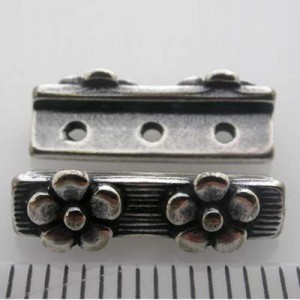 16mm 3-Row Spacer W/ 2 Daisies Pewter W/ Ant Silver Finish 10pcs