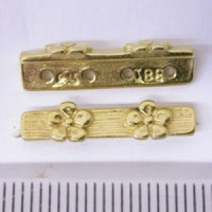 21mm 4-Row Spacer W/ 2 Daisies Pewter W/ Gold Plate Finish 10pcs