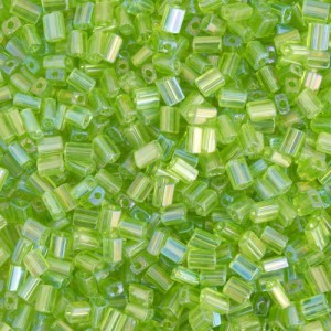 5x3.5mm Transparent Green AB Loose Oblong Tubes Seed Beads