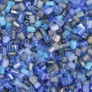 5x3.5mm Multi Blue/Sapphire Loose Oblong Tubes Czech Glass Seed Beads
