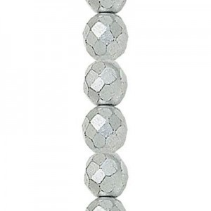 6mm Matte Silver Round Fire Polished Czech Beads - 7 Inch Strand (Apx 29 Beads)