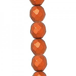 6mm Matte Copper Round Fire Polished Czech Beads - 7 Inch Strand (Apx 29 Beads)