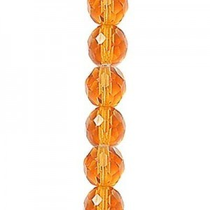 4mm Amber Round Fp Czech Beads - 7 Inch Strand (Apx 44 Beads)