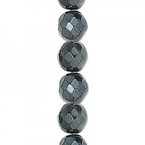 4mm Hematite Round Fire Polished Czech Beads - 7 Inch Strand (Apx 44 Beads)
