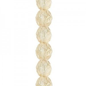6mm Crystal Champagne Round Fire Polished Czech Beads - 7 Inch Strand (Apx 29 Beads)