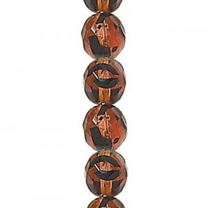 6mm Tortoise Round Fp Czech Beads - 7 Inch Strand (Apx 29 Beads)