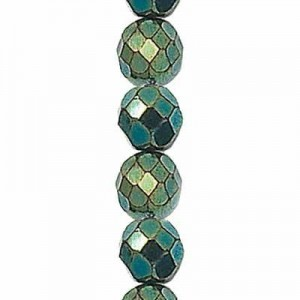 6mm Green Iris Round Fire Polished Czech Beads - 7 Inch Strand (Apx 29 Beads)