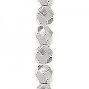 6mm Bright Silver Round Fire Polished Czech Beads - 7 Inch Strand (Apx 29 Beads)