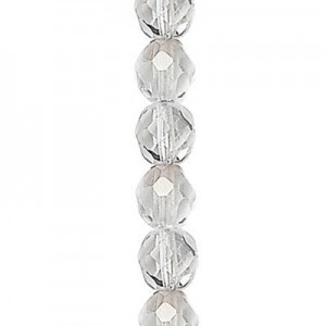 4mm Crystal Silver Round Fire Polished Czech Beads - 7 Inch Strand (Apx 44 Beads)