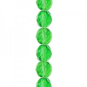 6mm Emerald Round Fp Czech Beads - 7 Inch Strand (Apx 29 Beads)