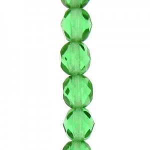 6mm Light Bottle Green Round Fp Czech Beads - 7 Inch Strand (Apx 29 Beads)