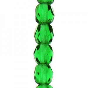 4mm Bottle Green Round Fp Czech Beads - 7 Inch Strand (Apx 44 Beads)