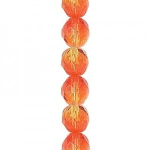4mm Fire Opal Round Fire Polished Czech Beads - 7 Inch Strand (Apx 44 Beads)