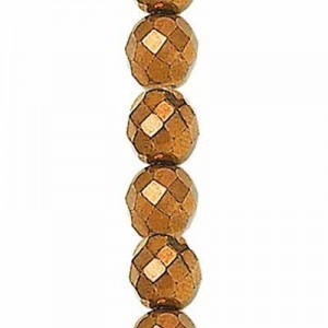 3mm Light Bronze Round Fire Polished Czech Beads - 7 Inch Strand (Apx 59 Beads)