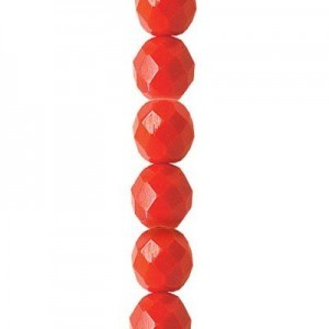 6mm Coral Round Fire Polished Czech Beads - 7 Inch Strand (Apx 29 Beads)