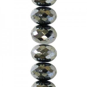 4x7mm Hematite Faceted Puffy Rondelles Czech Beads - 7 Inch Strand (Apx 44 Beads)