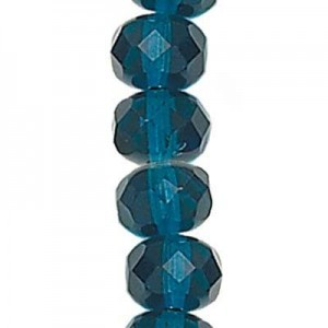 6x9mm Capri Blue Faceted Puffy Rondelles Czech Beads - 7 Inch Strand (Apx 29 Beads)