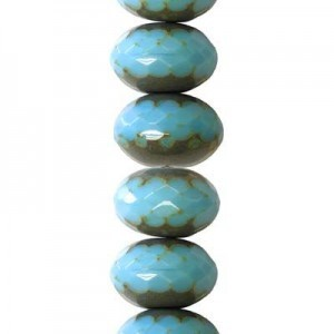 6x9mm Blue Turquoise Picasso Faceted Puffy Rondelles Czech Beads - 7 Inch Strand (Apx 29 Beads)