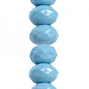 6x9mm Light Turquoise Opaque Faceted Puffy Rondelles Czech Beads - 7 Inch Strand (Apx 29 Beads)