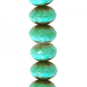 9x14mm Green Turquoise Picasso Faceted Puffy Rondelles Czech Beads - 7 Inch Strand (Apx 19 Beads)
