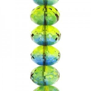 6x9mm Two-Tone Olive/Capri Faceted Puffy Rondelles Czech Beads - 7 Inch Strand (Apx 29 Beads)
