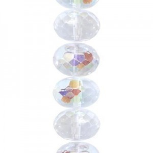 2.5x4mm Crystal AB Faceted Puffy Rondelles Czech Beads - 7 Inch Strand (Apx 71 Beads)