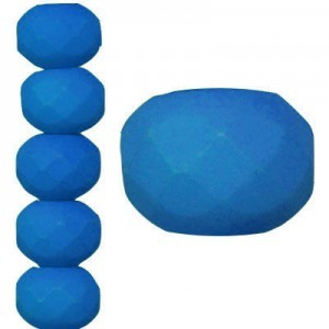 4x7mm Dark Neon Mykonos Blue Faceted Puffy Rondelles - 7 Inch Strand (Apx 44 Beads)