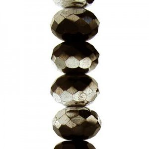 4x7mm Jet Silver Faceted Puffy Rondelles Czech Beads - 7 Inch Strand (Apx 44 Beads)
