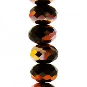 4x7mm Jet Copper Faceted Puffy Rondelles Czech Beads - 7 Inch Strand (Apx 44 Beads)
