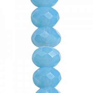 6x9mm Powder Blue Faceted Puffy Rondelles Czech Beads - 7 Inch Strand (Apx 29 Beads)