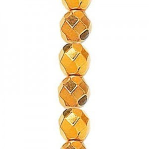 3mm Shiny Gold Round Fire Polished Czech Beads - 7 Inch Strand (Apx 59 Beads)