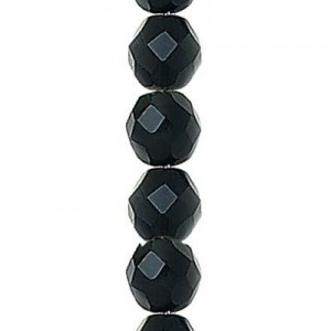 3mm Jet Round Fire Polished Czech Beads - 7 Inch Strand (Apx 59 Beads)