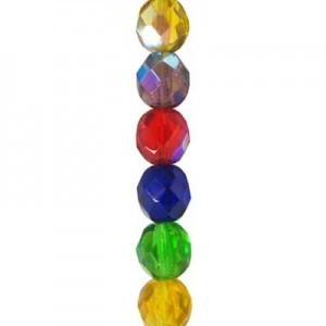 6mm Lollipop Mix Round Fire Polished Czech Beads - 7 Inch Strand (Apx 29 Beads)