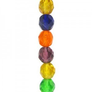 6mm Lollipop AB Mix Round Fire Polished Czech Beads - 7 Inch Strand (Apx 29 Beads)