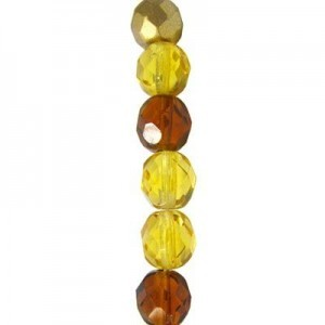 6mm Topaz Mix Round Fire Polished Czech Beads - 7 Inch Strand (Apx 29 Beads)