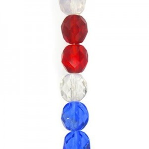 4mm American Flag Mix Round Fire Polished Czech Beads - 7 Inch Strand (Apx 44 Beads)