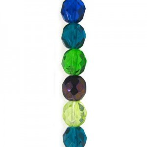 6mm Pacific Blue Mix Round Fire Polished Czech Beads - 7 Inch Strand (Apx 29 Beads)