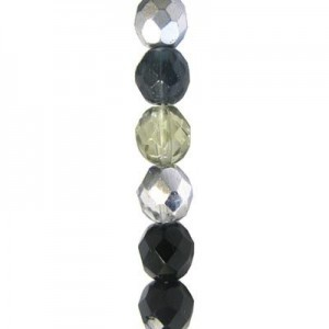 6mm Midnight Mix Round Fire Polished Czech Beads - 7 Inch Strand (Apx 29 Beads)