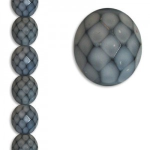 12mm Snake Grey Round Fire Polished Czech Beads - 7 Inch Strand (Apx 15 Beads)