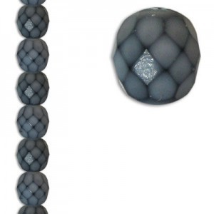 8mm Snake Grey Round Fire Polished Czech Beads - 7 Inch Strand (Apx 22 Beads)