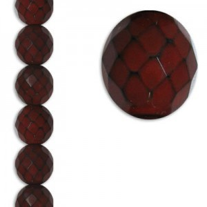 12mm Snake Red Round Fire Polished Czech Beads - 7 Inch Strand (Apx 15 Beads)