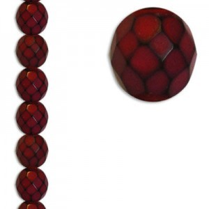 8mm Snake Red Round Fire Polished Czech Beads - 7 Inch Strand (Apx 22 Beads)
