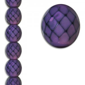 12mm Snake Purple Round Fire Polished Czech Beads - 7 Inch Strand (Apx 15 Beads)
