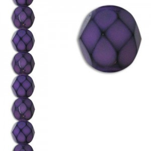 6mm Snake Purple Round Fire Polished Czech Beads - 7 Inch Strand (Apx 29 Beads)