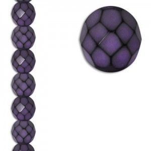8mm Snake Purple Round Fire Polished Czech Beads - 7 Inch Strand (Apx 22 Beads)