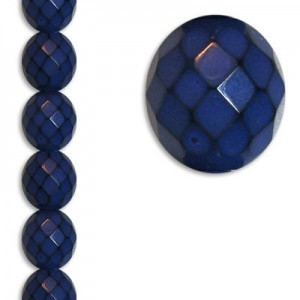 12mm Snake Blue Round Fire Polished Czech Beads - 7 Inch Strand (Apx 15 Beads)